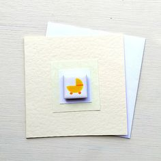 New baby card with a yellow pram design hand-painted onto a mini tile. The little tile is fired to give a lovely glossy finish and then a magnet is attached to the back and stuck on the card with removable glue so it is easy to peel off and keep. Baby Girl Car, Baby Girl Birthday, Best Baby Girl Gifts, Girl Nursery Colors, Fun Baby Announcement, Baby Name Generator, Baby Bath Time, Baby Boy Photography, Baby Drawing
