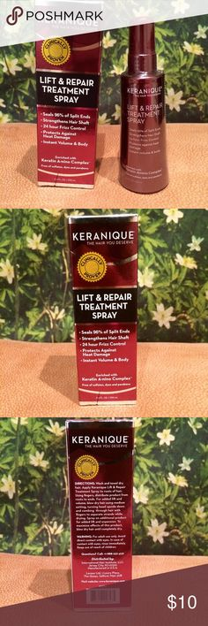 Keranique Lift and Repair Treatment spray This product acts as a leave in conditioner this is used in your roots to strengthen and condition them. This line is geared towards people suffering from hair loss! Check them out on Ulta! Never used!  **All cosmetic items are final sale** Keranique Makeup Brushes & Tools