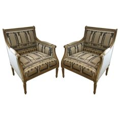 Louis XVI style Armchairs, Fornasetti Fabric. | From a unique collection of antique and modern bergere chairs at https://www.1stdibs.com/furniture/seating/bergere-chairs/
