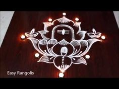 Deepam Rangoli with Karthika Masam Special LORD SHIVA kolam | Easy Rangolis - YouTube Rangoli Designs Latest, Simple Rangoli Designs Images, Rangoli Designs Flower, Rangoli Border Designs, Rangoli Designs Diwali, Rangoli Designs With Dots, Kolam Rangoli, Mehndi Art Designs, Rangoli With Dots