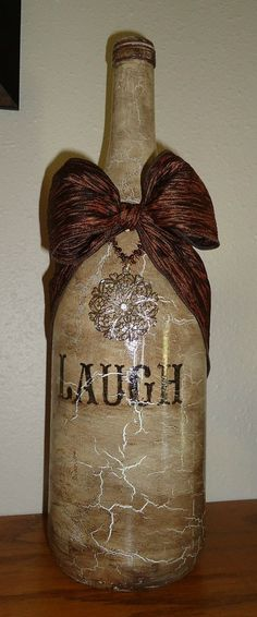 decoupage wine bottles | My new decorated wine bottle by Unique by Angie!!!! %u2026 | Altered Bot %u2026