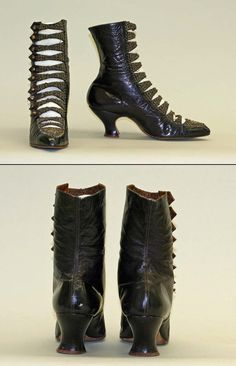 ~[American] Leather Shoes (ca. Edwardian Shoes, Victorian Shoes, Edwardian Fashion, Vintage Fashion, Edwardian Era, Old Boots, Shoe Boots, Crazy Shoes, New Shoes