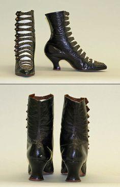 ~[American] Leather Shoes (ca. Edwardian Shoes, Victorian Shoes, Edwardian Fashion, Edwardian Era, Old Boots, Shoe Boots, Crazy Shoes, New Shoes, Vintage Boots