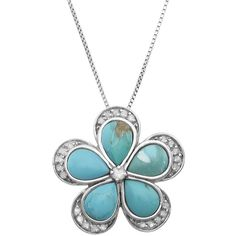 Jewel Exclusive Sterling Silver  Diamond and Genuine Turquoise Flower... ($50) ❤ liked on Polyvore featuring jewelry, pendants, multi, pendant jewelry, flower pendant, turquoise pendant, charm pendant and diamond pendant jewelry