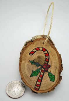Handmade Wood Slice Holiday Ornament  Candy by RusticWhitesides