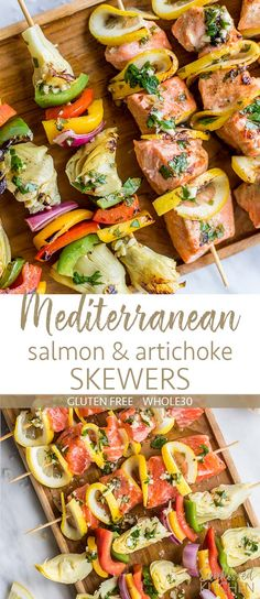 Mediterranean Grilled Salmon and Artichoke Skewers / This healthy grilled salmon recipe is Whole30, gluten free, and perfect for a healthy summer dinner. A fun new way to enjoy artichokes! | SUNKISSEDKITCHEN.COM | #ad #SunkissedKitchen ##StepOutOfYourComfortFood @ReeseSpeciality #bbq #grilling #salmon #skewers #kebabs #artichokes #mediterranean