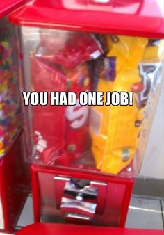 """Funny memes of unbelievably obvious """"you had one job"""" mistakes (""""epic fails""""). Funny Fails, Funny Jokes, Haha Funny, That's Hilarious, Funny Captions, Funniest Memes, Job Memes, One Job Meme, Life Memes"""