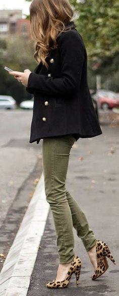 Street style | Khaki pants, button up coat and animal print flats instead of heels.