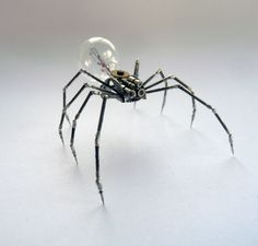 Mechanical Spider Sculpture No 8 Recycled Watch Parts Clockwork Arachnid Bug Insect Figurine Stems Lightbulb Arthropod A Mechanical Mind