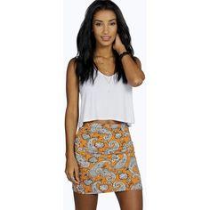 Boohoo Ruby Printed Mini Skirt ($4) ❤ liked on Polyvore featuring skirts, mini skirts, orange, orange mini skirt, short maxi skirt, bohemian maxi skirt, maxi skirt and orange skirt