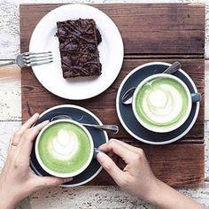 Celebrating Fathers Day over a matcha latte and brownie  www.zengreentea.com.au#matcha #superfood