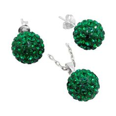 "Sterling Silver and Green Crystal Glass 12mm Disco Ball Pendant and Stud Earrings Set Avend Concepts. $24.99. Weight: 5.7 gm. Earrings: diameter: 7/16"" (12mm). Finish: high polish. Pendant: length: 3/4"" (20mm), width: 7/16"" (12mm). 925 sterling silver, glass. Save 38%!"