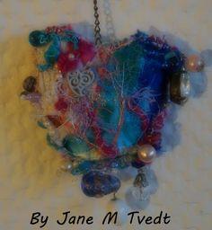 "Jane Monica Tvedt - Empire of heart: ""crazy quilting"" - Chakra crystal fiber heart -LOVE & Peace"