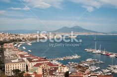 Bay of Naples, Volcano Vesuvio, America's Cup Royalty Free Stock Photo