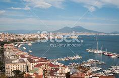 Bay of Naples, Volcano Vesuvio, America's Cup Royalty Free Stock Photo