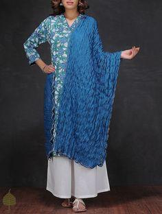 Blue Crinkled Cotton Dupatta on Jaypore.com