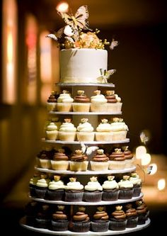 ... wedding cake with cup cakes in colors that would work for late summer into fall ...