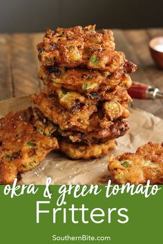 Green Tomato Fritters Get the best of fried green tomatoes and fried okra together in this Fried Okra & Green Tomato Fritters recipe.Get the best of fried green tomatoes and fried okra together in this Fried Okra & Green Tomato Fritters recipe. Okra Recipes, Vegetable Recipes, Cooking Recipes, Cooking Bacon, Cooking Games, Steak Recipes, Turkey Recipes, Crockpot Recipes, Cooking Tips