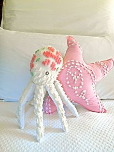 Vintage Chenille Octopus Pillow Nautical by searchnrescue2 on Etsy, $52.00