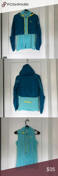 Adidas lightweight running jacket Adidas convertible running jacket. Shell is water resistant and zips off to reveal sweat wicking tank. Zippered pocket. Inner drawstring. Turquoise and light teal with yellow accents. Size S adidas Jackets & Coats