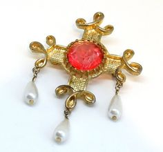 """Vintage Tudor Style Pin Brooch Baroque Spanish Cross Dangling White Pearl Beads Gold Metal Big Pink Center Stone Large Size 3.5"""""""