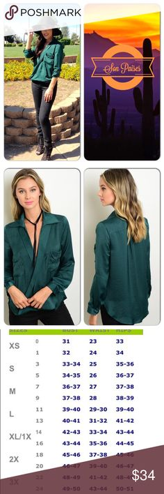 Emerald Top This gorgeous too features look sleeves with button up option. Draped front, pockets and collar. Silky smooth material. Perfect fall top! 97% Polyester 3% Spandex. (This closet does not trade or use PayPal ) Roly Poly Tops Blouses