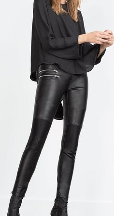 Slim leather pant in black is an absolutely stunning look.