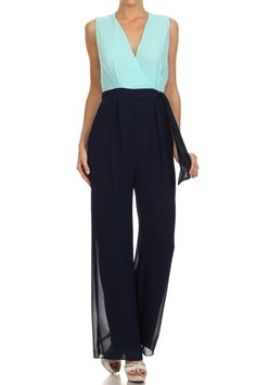 Blue Sleeveless Full Length Wide Leg Jumpsuit.