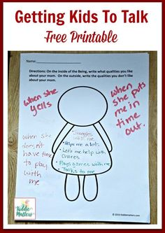 Getting Kids To Talk with Free Printable - Kiddie Matters Getting kids to talk and open up can be a challenge. This conversation starter activity and free printable can help kids open up. It can also be used by parents, educators, and counselors. Elementary School Counseling, School Social Work, School Counselor, Elementary Art, High School, Family Therapy Activities, Counseling Activities, Kids Therapy, Therapy Ideas