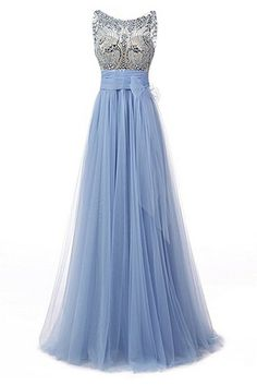 640fcdcb04 Light Blue Tulle Beading Round Neck A-line See-through Long Prom Dresses