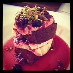 Toasted banana bread stack, berry compote, maple mascarpone and pistachios. Courtesy of 'Porgie and Mr Jonnes'