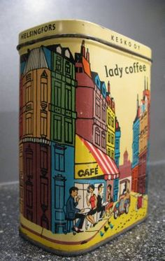 how awesome is this tin Lady Coffee, Vintage Finnish Tin Vintage Tins, Vintage Coffee, Vintage Antiques, Tin Lunch Boxes, Tin Boxes, Coffee Tin, Coffee Shop, Vintage Canisters, Tin Art