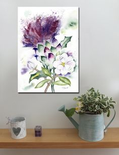 Scottish Thistle and Magnolia   http://www.splashyartystory.com/shop/art-prints/thistle-and-magnolia-art-print-of-painting-scotlandlouisianamississippi/