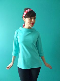 Coco sewing pattern - sixties style funnel roll neck and cuffs