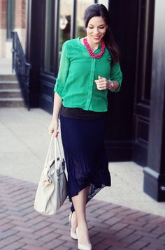 lovely colour combination of blue and green and pink necklace
