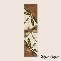 Free Bead Loom Bracelet Patterns | Bead Patterns Boutique - Coffee and Cream Dragonflies Loom Bracelet ...