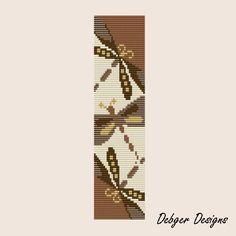Free Bead Loom Bracelet Patterns   Bead Patterns Boutique - Coffee and Cream Dragonflies Loom Bracelet ...
