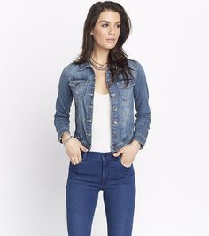 The iconic denim jacket that belongs in everyone's closet! Wide Brimmed Hats, Flare Dress, Going Out, Marie, Distressed Denim, Fashion Outfits, Stylish, My Style, Long Sleeve