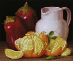 Oranges with Eggplants Signed Giclee Print in by sallyveigelstudio