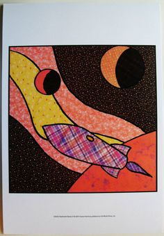 $20.99 Children's Art, Abstract Pattern Spaceship Art Print, Patchwork Planets II, by Charles Swinford | eBay