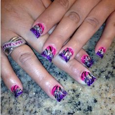 Zebra with pink silver and purple nails