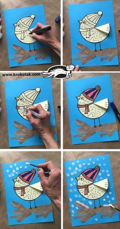 Best Winter Bird Crafts For Kids Snow Ideas Winter Art Projects, Winter Crafts For Kids, Projects For Kids, Art For Kids, Snow Crafts, Bird Crafts, Christmas Crafts, Paper Crafts, Classroom Art Projects