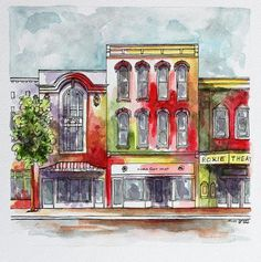 Indiana Urban Storefront Architectural Art, Pen and Ink with Watercolor Red Purple Yellow Abstract Streetscape Art Indiana Cityscape art deco art ideas art perspective Ink Pen Art, Custom Dog Portraits, Pen And Watercolor, Linocut Prints, Art Techniques, Art And Architecture, Collage Art, Amazing Art, Abstract