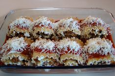 Lasanga Roll Ups - made these for my grandma tonight and they were amazing.  I substituted ground beef for ground turkey instead though :)