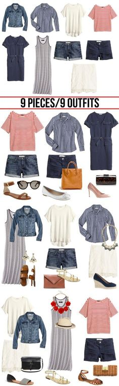 The perfect summer wardrobe from only 9 pieces *** Summer Capsule Wardrobe with jus 9 pieces Capsule Wardrobe, Core Wardrobe, Summer Wardrobe, Holiday Wardrobe, Travel Wardrobe, Wardrobe Ideas, Minimal Wardrobe, Wardrobe Basics, Spring Summer Fashion