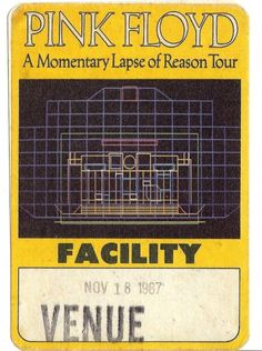Vintage 1987 Pink Floyd Back Stage Pass A by TheIDconnection, $10.00