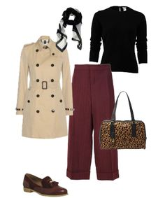 Capsule Closet   Abril 2016   Day 4 (Bordeaux culottes, blach sweater, beige trench-coat, black and white scarf, masculine bordeaux shoes, animal print hand bag)