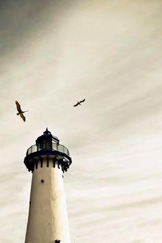 Lighthouse Photograph, Nautical Decor, White, Blue, Gray, Shabby Chic Beach…