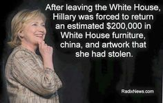 """She says those were """"gifts"""". Yes, gifts that belong to the American people, not HER!! She doesn't get that she (government) is supposed to be a REPRESENTATIVE of us, not IN PLACE OF us."""