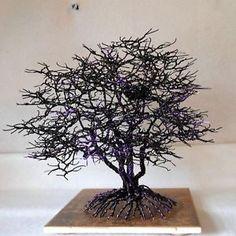 COPPER-WIRE-TREE-HOME-DECOR-METAL-US-ARTIST-SCULPTURE-BONSAI-NATURE-ACCENT-BLACK